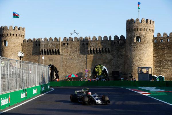 Baku City Circuit, Baku, Azerbaijan. Friday 23 June 2017. Kevin Magnussen, Haas VF-17 Ferrari. World Copyright: Steven Tee/LAT Images ref: Digital Image _R3I2553