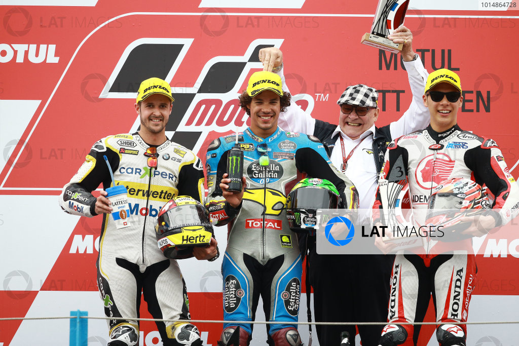 2017 Moto2 Championship - Round 8 Assen, Netherlands Sunday 25 June 2017 Podium: second place Thomas Luthi, CarXpert Interwetten, Race winner Franco Morbidelli, Marc VDS, third place Takaaki Nakagami, Idemitsu Honda Team Asia World Copyright: David Goldman/LAT Images ref: Digital Image 680211