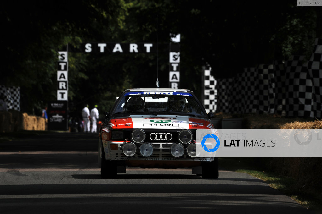 Goodwood Estate, Chichester England 11th - 14th July 2013. Hannu Mikkola, Audi Quattro. World Copyright: Jeff Bloxham/LAT Photographic ref: Digital Image DSC_5243