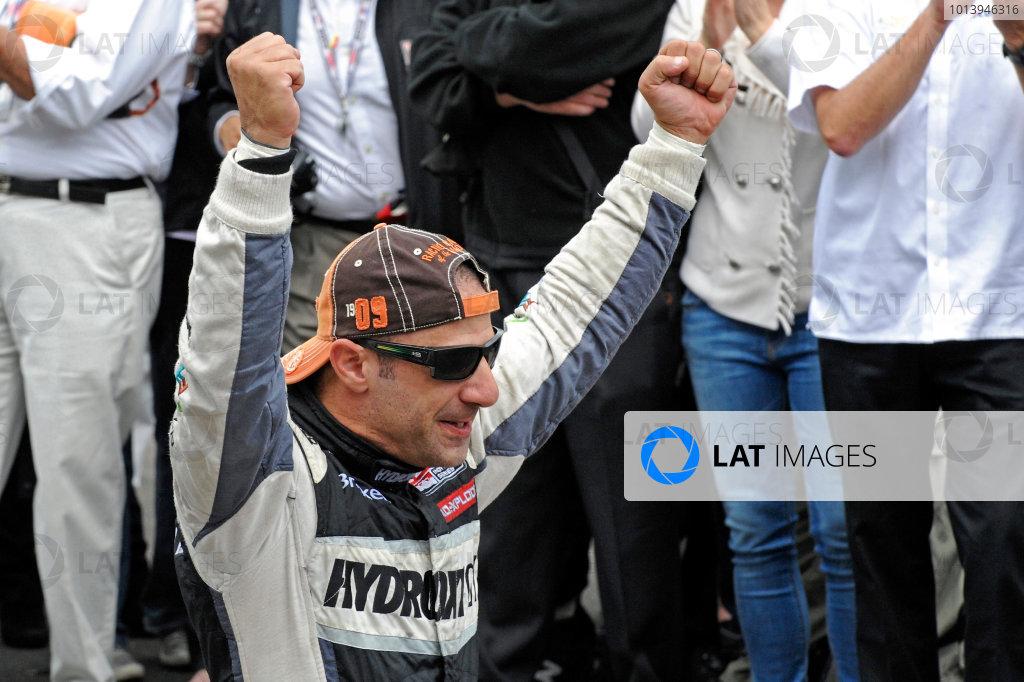 26 May, 2013, Indianapolis, Indiana, USA Winner Tony Kanaan (#11) celebrates after kissing the
