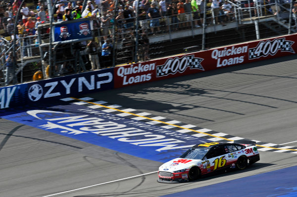 14-16 June, 2013, Brooklyn, Michigan USA Greg Biffle crosses the finish line under the checkered flag for the win ©2013, Scott R LePage LAT Photo USA