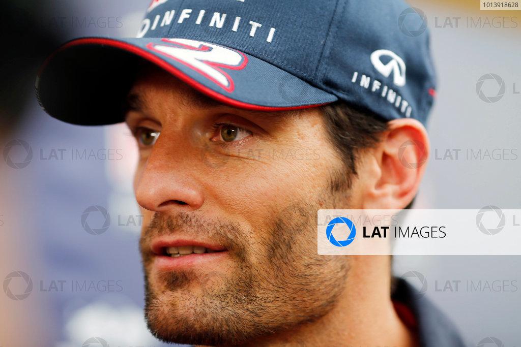 Bahrain International Circuit, Sakhir, Bahrain Friday 19th April 2013 Mark Webber, Red Bull Racing.  World Copyright: Steven Tee/LAT Photographic ref: Digital Image _14P7572A