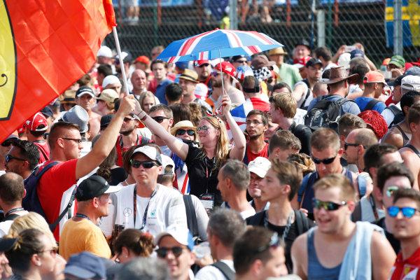 Hungaroring, Budapest, Hungary. Sunday 24 July 2016. Fans gather at the podium. World Copyright: Glenn Dunbar/LAT Photographic ref: Digital Image _W2Q8468