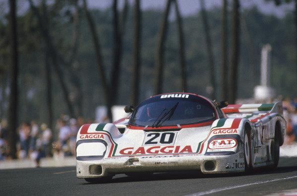 Le Mans, France. 16th -17th  June 1984.Massimo Sigala/Oscar Larrauri/Jo'l Gouhier (Porsche 956), 7th position, action. World Copyright: LAT Photographic.Ref:  84LM01