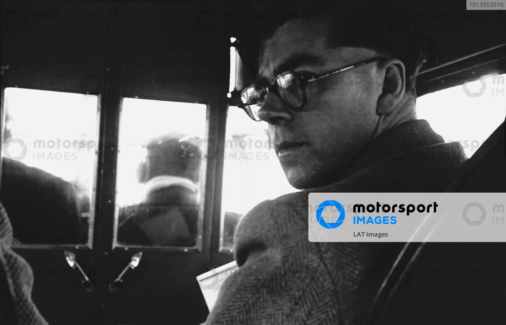 Editor of Motor Sport for 55 years, from 1936 to 1991, here aboard an Avro Anson on his way to the Spanish Grand Prix in Barcelona, portrait. World Copyright: LAT Photographic.