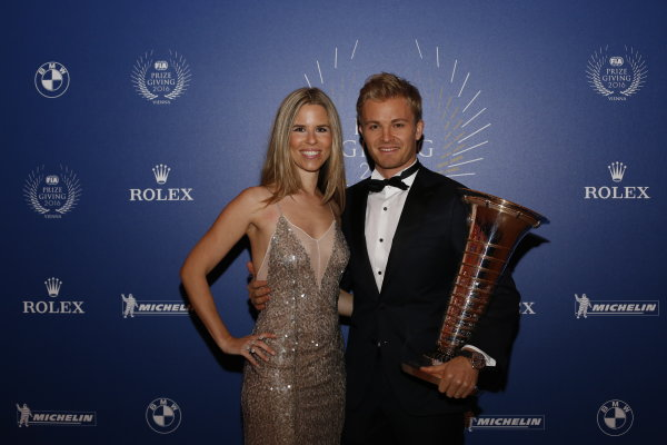 2016 FIA Prize Giving Vienna, Austria Friday 2nd December 2016 Nico Rosberg with wife Vivian. Photo: Copyright Free FOR EDITORIAL USE ONLY. Mandatory Credit: FIA ref: 30560143654_4ac0493b58_o