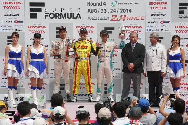 2014 All-Japan F3 Championship. Motegi, Japan. 23rd - 24th August 2014. Rd 5. Race 2 - Winner Mitsunori Takaboshi ( #22 B-MAX Racing Team with NDDP ) 2nd position Nobuharu Matsushita ( #7 HFDP RACING ) 3rd position Takamoto Katsuata ( #1 PETRONAS TEAM TOM'S ) podium, portrait. World Copyright: Yasushi Ishihara / LAT Photographic. Ref:  2014JF3_Rd10&11_017.JPG