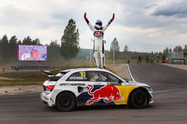 2014 FIA World Rallycross Championship Round 05 H?ljes, Sweden 5th & 6th July 2014 Mattias Ekstrom, Audi, celebration Worldwide Copyright: McKlein/LAT