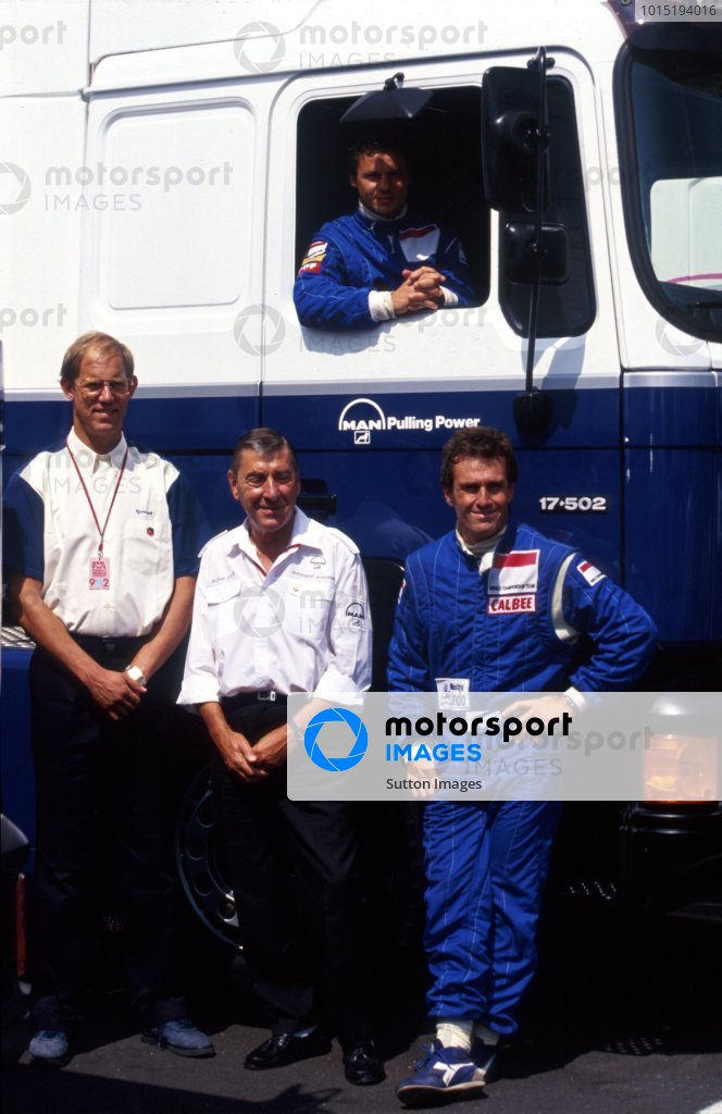 Olivier Grouillard (FRA) Tyrrell (In truck) with (L to R): Bob Tyrrell (GBR) Tyrrell Marketing Director; Jochan Luck; Andrea de Cesaris (ITA) Tyrrell.