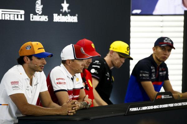 Carlos Sainz Jr, McLaren, Kimi Raikkonen, Alfa Romeo Racing, Sebastian Vettel, Ferrari, Nico Hulkenberg, Renault F1 Team andAlexander Albon, Toro Rosso in Press Conference