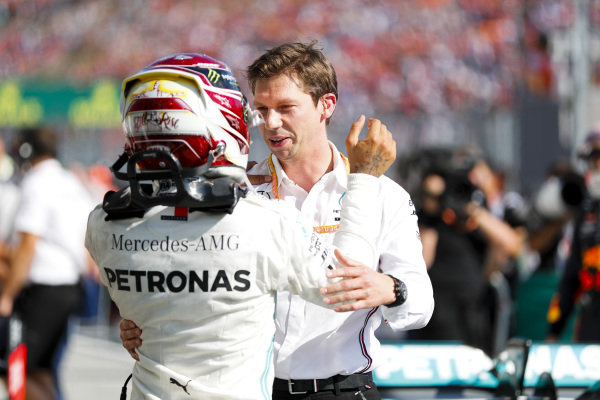 Race Winner Lewis Hamilton, Mercedes AMG F1 celebrates in Parc Ferme with James Vowles, Motorsport Strategy Director, Mercedes AMG F!