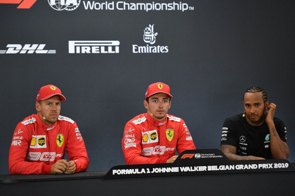Sebastian Vettel, Ferrari, pole man Charles Leclerc, Ferrari, and Lewis Hamilton, Mercedes AMG F1, in the Press Conference