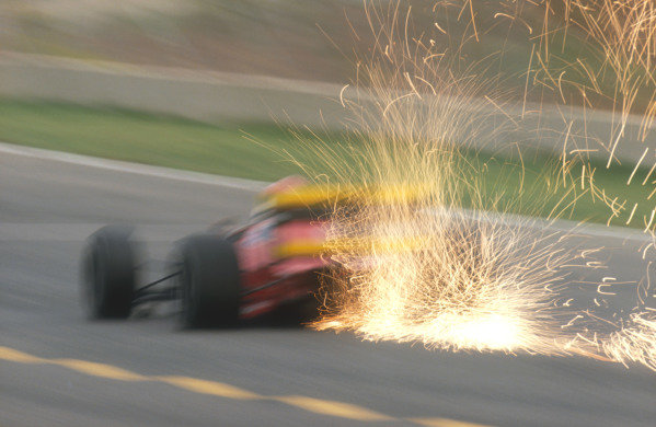 1990 Spanish Grand Prix.Jerez, Spain.28-30 September 1990.A Ferrari 641 sparks up.Ref-90 ESP 09.World Copyright - LAT Photographic