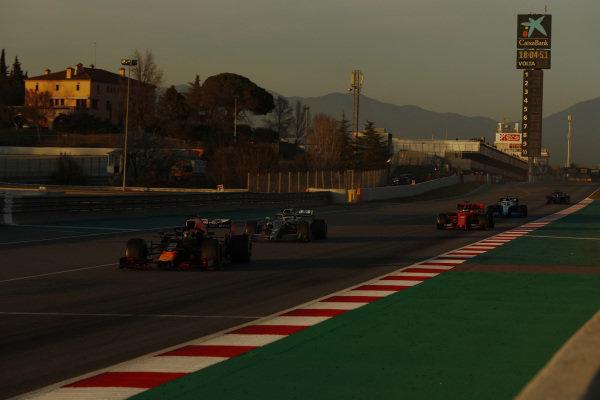 Pierre Gasly, Red Bull Racing RB15, Valtteri Bottas, Mercedes-AMG F1 W10 EQ Power+ and Sebastian Vettel, Ferrari SF90
