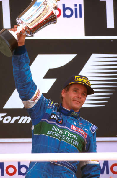 Silverstone, England.12-14 July 1996.Gerhard Berger (Benetton Renault) 2nd position on the podium.Ref-96 GB 05.World Copyright - LAT Photographic