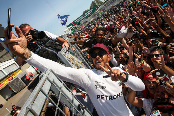 Race winner Lewis Hamilton (GBR) Mercedes AMG F1 celebrates with the fans at Formula One World Championship, Rd7, Canadian Grand Prix, Race, Montreal, Canada, Sunday 11 June 2017. BEST IMAGE