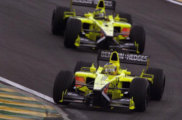 2001 Brazilian Grand Prix.Interlagos, Sao Paulo, Brazil. 30/3-1/4 2001.Jarno Trulli followed by team mate Heinz-Harald Frentzen (both Jordan EJ11 Honda's).World Copyright -Steve Etherington/LAT Photographic ref: 18MB Digital
