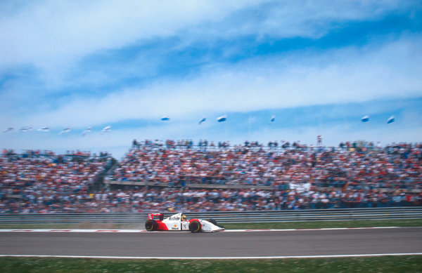 1993 San Marino Grand Prix.Imola, Italy.23-25 April 1993.Ayrton Senna (McLaren MP4/8 Ford). He exited the race with hydraulics failure.Ref-93 SM 02.World Copyright - LAT Photographic