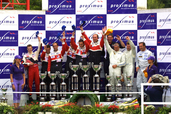 2001 Spa Francorchamps 24HoursSpa-Francorchamps, Belgium. 6th - 7th August 2001.Race podium - The Larbre Competition, Chrysler Vipers GTS-R, of Duez, Bouchut and Belloc (1st), Bourdais, Goueslard and Dumez (2nd) and the Paul Belmondo Racing, Chrysler Viper GTS-R, of Dierick, De Doncker and Dupont (3rd).World Copyright: Peter Fox/LAT Photographicref: Digital Image Only