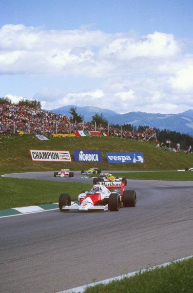 Osterreichring, Zeltweg, Austria.16-18 August 1985.Alain Prost (McLaren MP4/2B TAG Porsche) 1st position.Ref-85 AUT 09.World Copyright - LAT Photographic