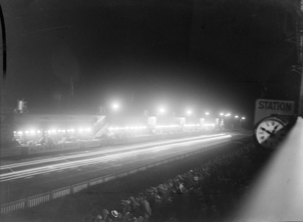 Pit Straight at night from the main grandstand opposite the pits.