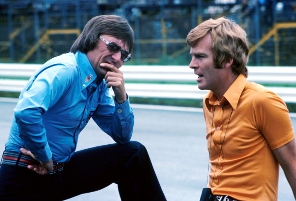 Two team owners who would come to be the most powerful men in motor sport: Bernie Ecclestone (GBR) of Brabham and Max Mosley (GBR) of March. 1975 Formula One World Championship.