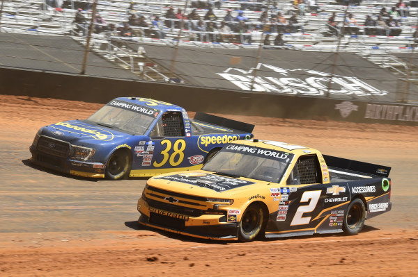 #2: Sheldon Creed, GMS Racing, Chevrolet Silverado Chevy Accessories, #38: Todd Gilliland, Front Row Motorsports, Ford F-150 Speedco