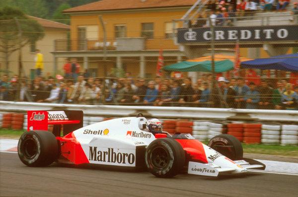 Imola, Italy.25-27 April 1986.Alain Prost (McLaren MP4/2C TAG Porsche) 1st position.Ref-86 SM 10.World Copyright - LAT Photographic