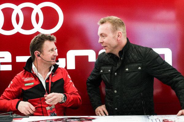Allan McNish, Team Principal, Audi Sport Abt Schaeffler, talks to Olympic gold medalist Sir Chris Hoy in the Audi garage