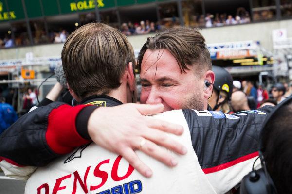 Toyota mechanics celebrate winning Le Mans