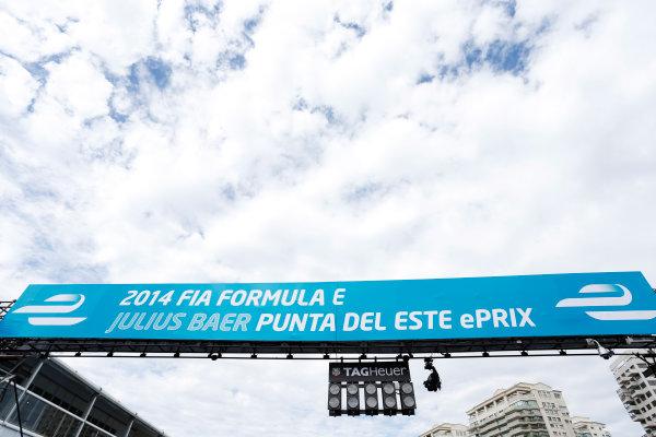 2014 FIA Formula E Championship. Punta del Este ePrix, Uruguay. Circuit signage. Photo: Zak Mauger/LAT/FE ref: Digital Image _L0U9414