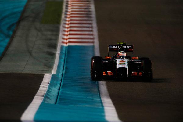 Yas Marina Circuit, Abu Dhabi, United Arab Emirates. Saturday 22 November 2014. Sergio Perez, Force India VJM07 Mercedes. World Copyright: Glenn Dunbar/LAT Photographic. ref: Digital Image _W2Q5599