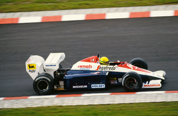 1984 European Grand Prix. Nurburgring, Germany. 5th - 7th October 1984. Ayrton Senna (Toleman TG184-Hart), retired, action.  World Copyright: LAT Photographic. Ref: 84 EUR