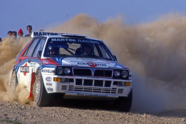 Portuguese Rally, Portugal. 3rd - 7th March 1992. Rd 3. Juha Kankkunen / Juha Piironen (Lancia Delta HF Integrale), 1st position, action. World Copyright: LAT Photographic Ref: 92RALLY03