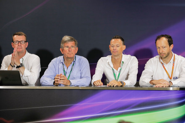 Monte Carlo, Monaco. Friday 26 May 2017. Ian Burrows, Nigel Geach, Charles Bradley and Peter Bayer, FIA Secretary General for Motor Sport at the F1 Motorsport Network Global Fan Survey Press Conference. World Copyright: Zak Mauger/LAT Images ref: Digital Image _56I6640