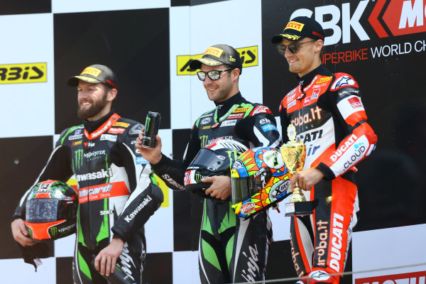 2017 Superbike World Championship - Round 4 Assen, Netherlands. Sunday 30 April 2017 Podium: race winner Jonathan Rea, Kawasaki Racing, second place Tom Sykes, Kawasaki Racing, third place Chaz Davies, Ducati Team World Copyright: Gold and Goose Photography/LAT Images ref: Digital Image WSBK-1238