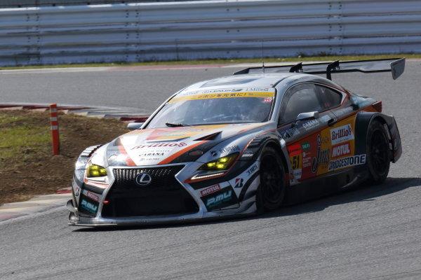 2017 Japanese Super GT Series. Fuji, Japan. 6th - 7th April 2017. Rd 2. GT300 Winner Yuichi Nakayama & Sho Tsuboi ( #51 JMS P.MU LMcorsa RC F GT3 ) action World Copyright: Yasushi Ishihara / LAT Images. Ref: 2017SGT_Rd2_09