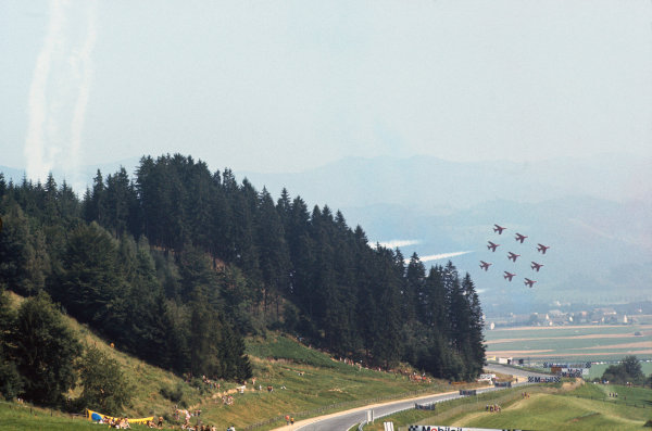 1972 Austrian Grand Prix.  Osterreichring, Zeltweg, Austria. 11-13th August 1972.  The Red Arrows perform low in the valley above the circuit.  Ref: 72AUT43. World Copyright: LAT Photographic