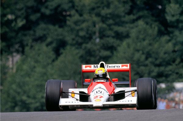 1990 Belgian Grand Prix.Spa-Francorchamps, Belgium. 24-26 August 1990.Ayrton Senna (McLaren Honda) 1st position.Ref-90 BEL 03.World Copyright - LAT Photographic