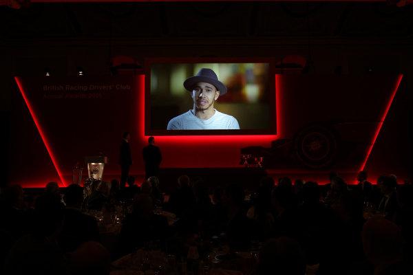 2015 British Racing Drivers Club Awards Grand Connaught Rooms, London Monday 7th December 2015 Lewis Hamilton on screen. World Copyright: Jakob Ebrey/LAT Photographic ref: Digital Image Hamilton-02