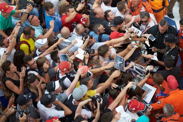 Autodromo Nazionale di Monza, Monza, Italy. Thursday 3 September 2015. Lewis Hamilton, Mercedes AMG, signs autographs for fans. World Copyright: Steve Etherington/LAT Photographic ref: Digital Image SNE23388