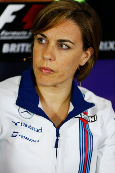Silverstone, Northamptonshire, UK Friday 08 July 2016. Claire Williams, Deputy Team Principal, Williams Martini Racing, in the Team Principals Press Conference. World Copyright: Andy Hone/LAT Photographic ref: Digital Image _ONY8128
