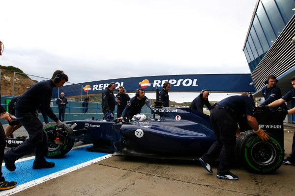 2014 F1 Pre Season Test 1 - Day 2 Circuito de Jerez, Jerez, Spain. Wednesday 29 January 2014. Valtteri Bottas, Williams FW36 Mercedes arrives in the pits. World Copyright: Alastair Staley/LAT Photographic. ref: Digital Image _A8C8475.JPG