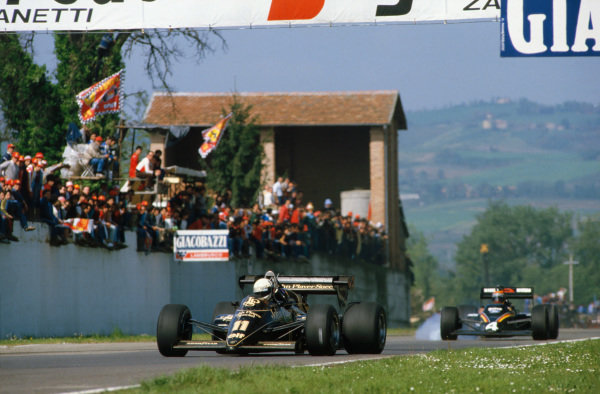 Imola, Italy. 4th - 5th May 1984. Elio de Angelis (Lotus 95T-Renault), 3rd position leads Stefan Bellof (Tyrrell 012 Ford), Disqualified due to technical infringements, action.  World Copyright: LAT Photographic.  Ref:  84 SM 20.