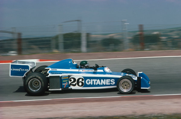 Jarama, Spain. 2nd May 1976.  Jacques Laffite (Ligier JS5-Matra) 12th position, action.  World Copyright: LAT Photographic.  Ref:  76 ESP 15.