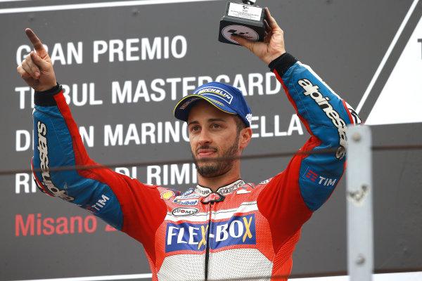 2017 MotoGP Championship - Round 13 Misano, Italy. Sunday 10 September 2017 Podium: third place Andrea Dovizioso, Ducati Team World Copyright: Gold and Goose / LAT Images ref: Digital Image 7945