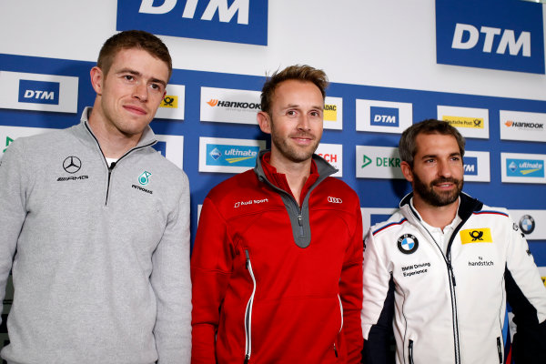 2017 DTM Round 9  Hockenheimring, Germany  Friday 13 October 2017. Press Conference: Paul Di Resta, Mercedes-AMG Team HWA, Mercedes-AMG C63 DTM, René Rast, Audi Sport Team Rosberg, Audi RS 5 DTM, Timo Glock, BMW Team RMG, BMW M4 DTM  World Copyright: Alexander Trienitz/LAT Images ref: Digital Image 2017-DTM-HH2-AT2-0154