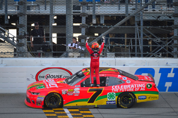 NASCAR XFINITY Series TheHouse.com 300 Chicagoland Speedway, Joliet, IL USA Saturday 16 September 2017 Justin Allgaier, BRANDT / Celebrating the Future of AG Chevrolet Camaro celebrates after winning World Copyright: Logan Whitton LAT Images