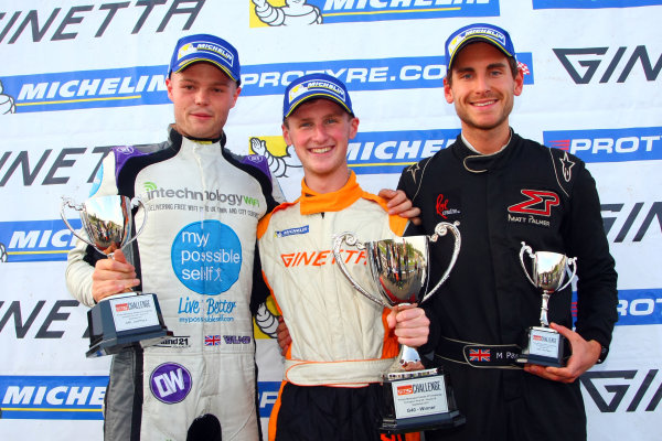 2017 Ginetta GT5 Challenge, Donington Park, Leicestershire. 23rd - 24th September 2017. Podium (l-r) Oli Wilkinson, Lewis Brown, Matt Palmer. World Copyright: JEP/LAT Images