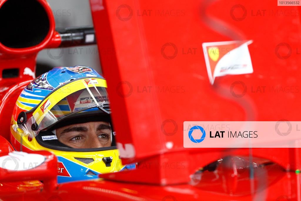 Albert Park, Melbourne, Australia 25th March 2011. Fernando Alonso, Ferrari 150° Italia. Portrait. Helmets.  World Copyright: Andrew Ferraro/LAT Photographic ref: Digital Image _Q0C7531